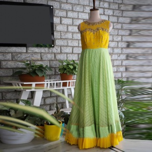 Festive Wear Lime Yellow Color Designer Dress