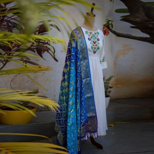 Embroidered White Color Designer Suit