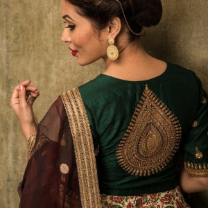 Embroidered Green Colored Festive Wear Blouse