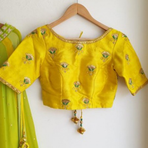 Unstitched Yellow Colored Embroidered fancy Blouse