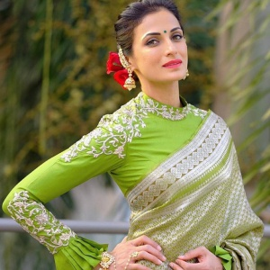 Unstitched Light Green Colored Embroidered Blouse