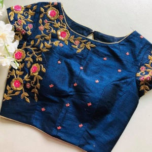 Unstitched Fabulous Navy Blue Colored Embroidered Blouse
