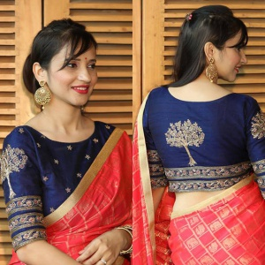 Unstitched Navy Blue Color Designer Blouse