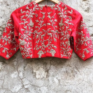 Unstitched Red Color Wedding Wear Blouse