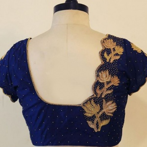 Unstitched Blue Color Embroidered Blouse