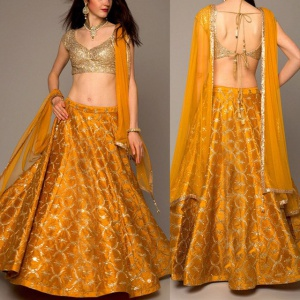 Mustard Yellow Colored Designer Lehenga