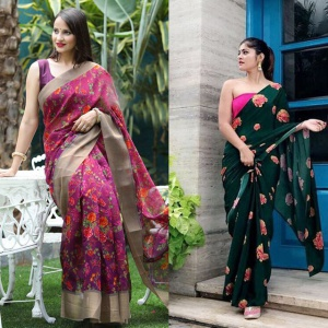 Pack Of 2 Multicolor Printed Sarees