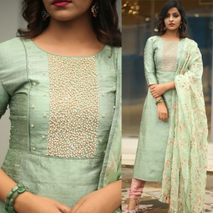 Light Green Color Embroidered Suit