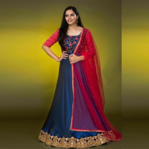 Blue And Pink Color Embroidered Suit With Dupatta