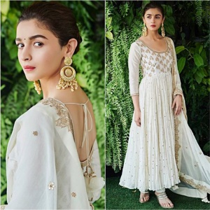Celebrity Style Cream Color Embroidered Suit