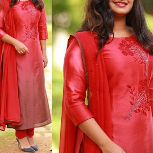 Red Color Embroidered Suit