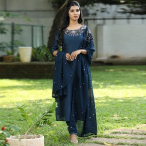 Blue Color Festive Wear Designer Suit