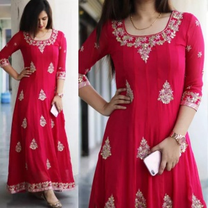 Embroidered Red Color Dress