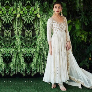 White Color Embroidered Suit