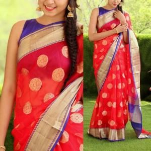 Party Wear Red & Blue Fancy Saree