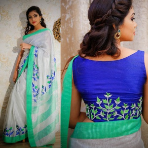 White Blue Color Designer Saree