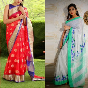 Pack Of 2 Red And White Color Festive Wear Sarees