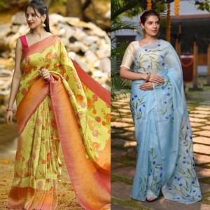 Pack Of 2 Yellow And Sky Blue Color Printed Sarees