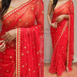 Wedding Wear Embroiderd Fancy Saree