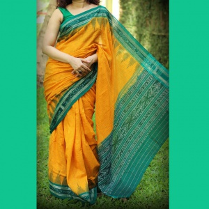 Party Wear Mustard Green Color Fancy Saree