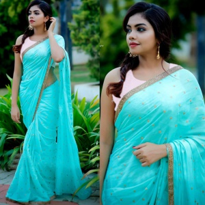 Beautiful Cyan Color Georgette Saree