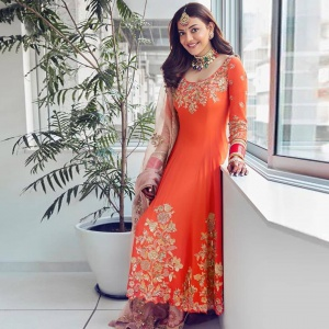 Orange Color Embroidered Rayon Suit