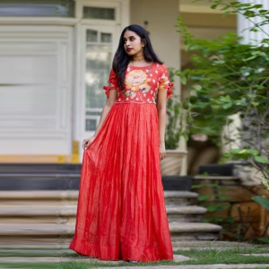 Tometo Red Colored Fancy Printed Suit