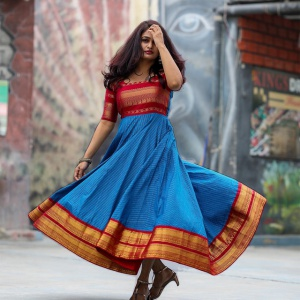 Weaving Work Red And Blue Color Dress