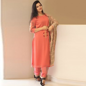 Light Pink Colored Embroidered Suit