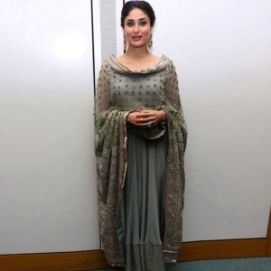 Celebrity Style Grey Color Dress With Dupatta